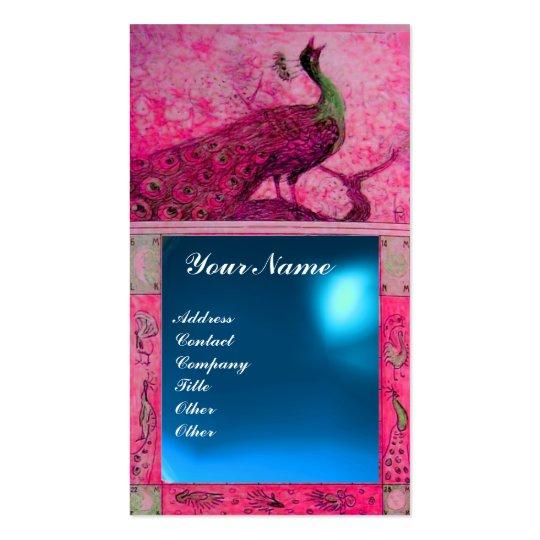 WEDDING LOVE PEACOCK MONOGRAM pink  blue sapphire Business Card