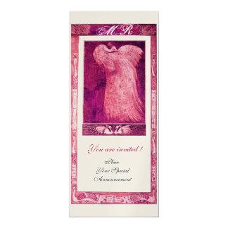 WEDDING LOVE PEACOCK MONOGRAM ,pink gold metallic 4x9.25 Paper Invitation Card