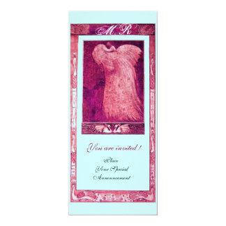 WEDDING LOVE PEACOCK MONOGRAM ,pink red white blue 4x9.25 Paper Invitation Card