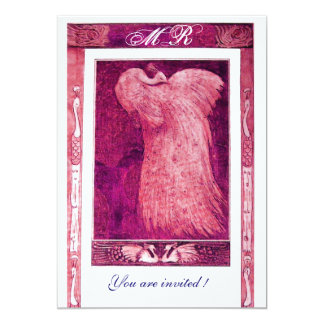 WEDDING LOVE PEACOCK MONOGRAM ,pink red white 5x7 Paper Invitation Card
