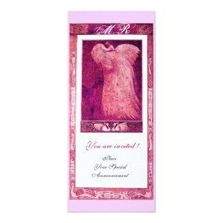 WEDDING LOVE PEACOCK MONOGRAM ,pink red white 4x9.25 Paper Invitation Card