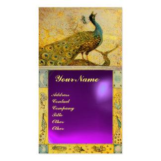 WEDDING LOVE PEACOCK MONOGRAM  purple amethyst Business Card