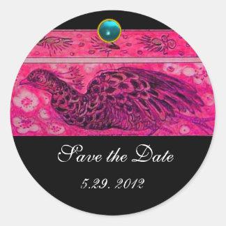 WEDDING LOVE PEACOCK pink black blue aquamarine Classic Round Sticker