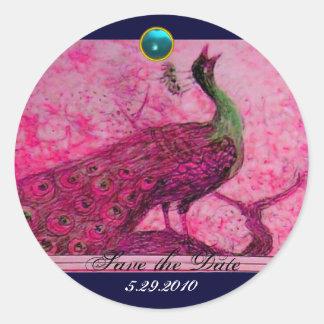 WEDDING LOVE PEACOCK pink fuchsia blue aquamarine Classic Round Sticker
