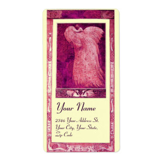 WEDDING LOVE PEACOCK ,pink red violet cream Shipping Label