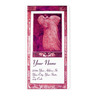 WEDDING LOVE PEACOCK ,pink red violet white Label