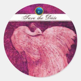 WEDDING LOVE PEACOCK pink white ,blue sapphire Classic Round Sticker