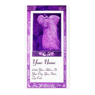 WEDDING LOVE PEACOCK , purple violet white Label