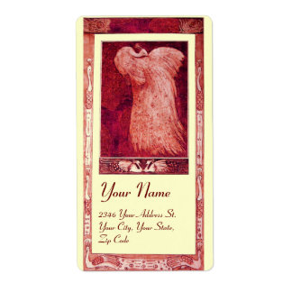 WEDDING LOVE PEACOCK ,red and white cream Label