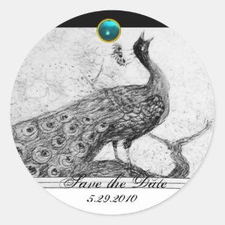 WEDDING LOVE PEACOCK white black blue aquamarine Classic Round Sticker