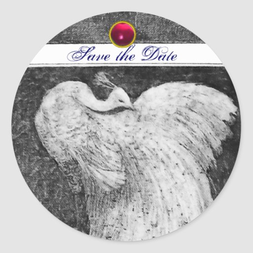 WEDDING LOVE PEACOCK white black pink red ruby Classic Round Sticker