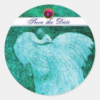 WEDDING LOVE PEACOCK white ,blue pink amethyst Classic Round Sticker
