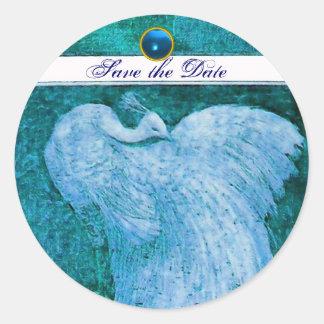 WEDDING LOVE PEACOCK white ,blue sapphire Classic Round Sticker