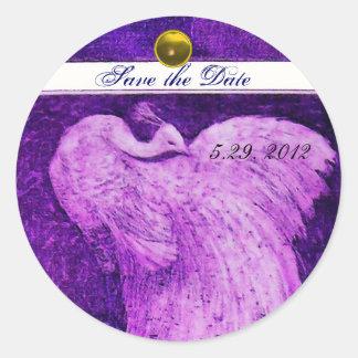 WEDDING LOVE PEACOCK white purple yellow topaz Classic Round Sticker