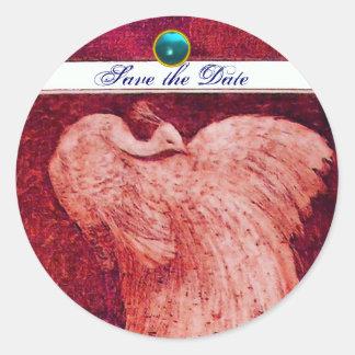 WEDDING LOVE PEACOCK white red blue aquamarine Classic Round Sticker