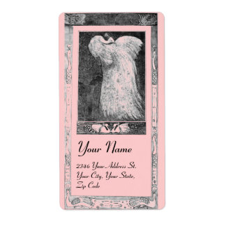 WEDDING LOVE PEACOCKS ,black and white pink Shipping Label