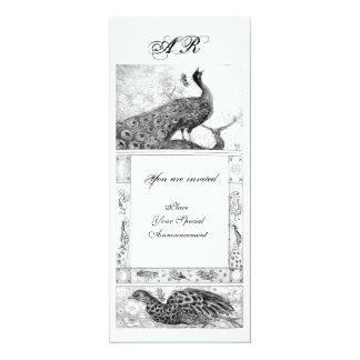 WEDDING LOVE PEACOCKS MONOGRAM black white Card