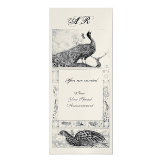 WEDDING LOVE PEACOCKS MONOGRAM black white gold Card