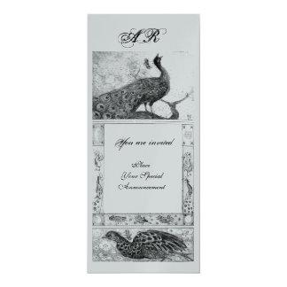 WEDDING LOVE PEACOCKS MONOGRAM black white silver Card