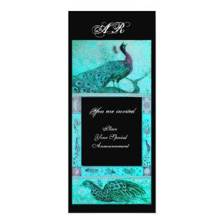 WEDDING LOVE PEACOCKS MONOGRAM blue black Card