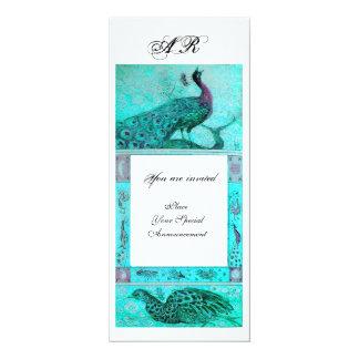 WEDDING LOVE PEACOCKS MONOGRAM  blue white Card