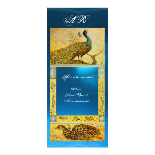 WEDDING LOVE PEACOCKS MONOGRAM brown blue yellow Card
