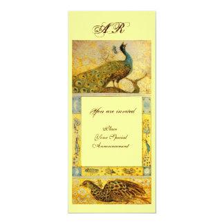 WEDDING LOVE PEACOCKS MONOGRAM ,brown green yellow Card