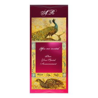 WEDDING LOVE PEACOCKS MONOGRAM brown pink yellow Card