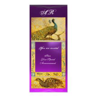 WEDDING LOVE PEACOCKS MONOGRAM brown purple yellow Card