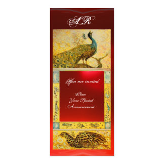 WEDDING LOVE PEACOCKS MONOGRAM brown red yellow 4x9.25 Paper Invitation Card