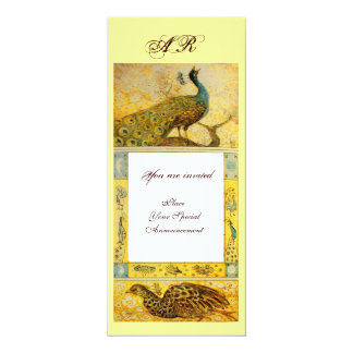 WEDDING LOVE PEACOCKS MONOGRAM ,brown white yellow Card