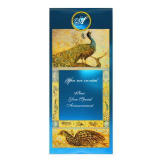 WEDDING LOVE PEACOCKS MONOGRAM ,brown yellow blue Card