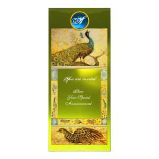 WEDDING LOVE PEACOCKS MONOGRAM ,brown yellow topaz Card