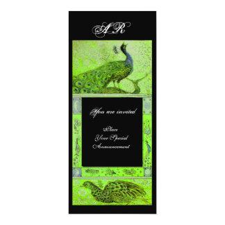 WEDDING LOVE PEACOCKS MONOGRAM green black Card