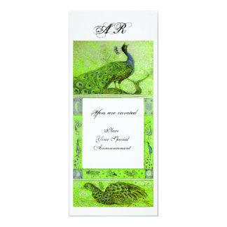 WEDDING LOVE PEACOCKS MONOGRAM green white Card