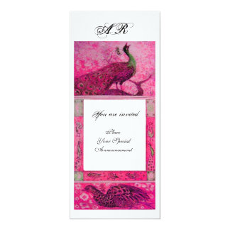 WEDDING LOVE PEACOCKS MONOGRAM pink fuchsia white Card