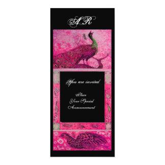 WEDDING LOVE PEACOCKS MONOGRAM pink fuchsiablack Card