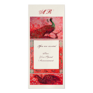 WEDDING LOVE PEACOCKS MONOGRAM red gold metallic Card