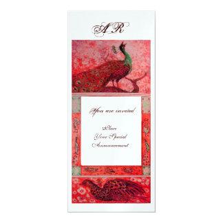 WEDDING LOVE PEACOCKS MONOGRAM red ice metallic Card