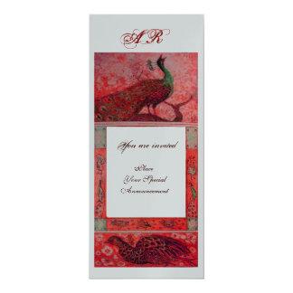 WEDDING LOVE PEACOCKS MONOGRAM red silver metallic Card