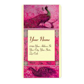 WEDDING LOVE PEACOCKS ,red fuchsia pink cream Shipping Label