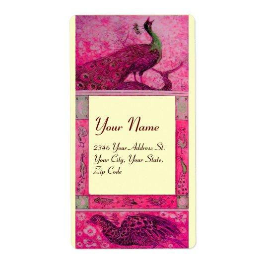 WEDDING LOVE PEACOCKS ,red fuchsia pink cream Label