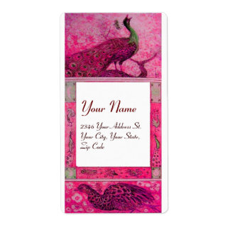 WEDDING LOVE PEACOCKS ,red fuchsia pink white Shipping Label