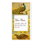 WEDDING LOVE PEACOCKS ,yellow brown white Personalized Shipping Label