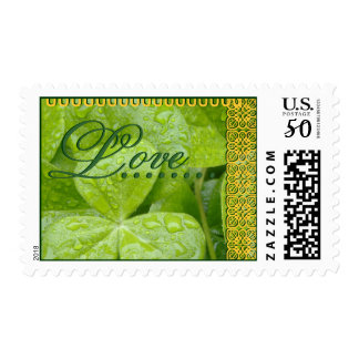 WEDDING Love Shamrocks with GOLD Lace Postage