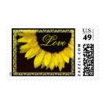 Wedding LOVE Stamp Cheerful Yellow Sunflower Lace