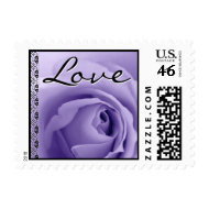 Wedding LOVE Stamp PURPLE Rose Lace Accent stamp