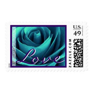 Wedding LOVE Stamp TEAL  Rose PURPLE Edging