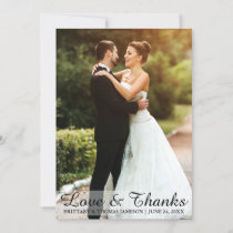 Wedding Love & Thanks Bride & Groom Photo Card