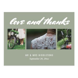 Wedding Love & Thanks Script | Three Photos Grey Postcard